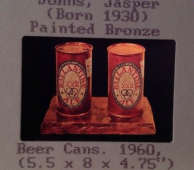"Jasper Johns ""Painted Bronze Beer Cans"" 35mm Color Slide. Pop Art Neo-dadaist"