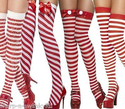 Ladies Red & White Striped Christmas Santa Fancy Dress Costume Stockings Socks
