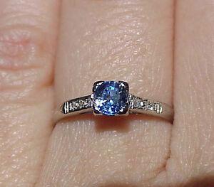 ART DECO PLATINUM DIAMOND CEYLON SAPPHIRE ENGAGEMENT WEDDING RING BRISTOL N.Y.