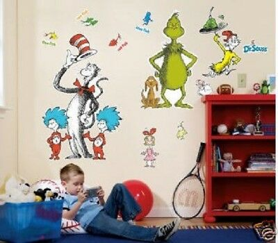 DR. SEUSS CAT IN HAT Giant Wall Stickers 10 decals MURAL Grinch Things 1 & 2 Sam](Dr Seuss Giant Wall Decals)