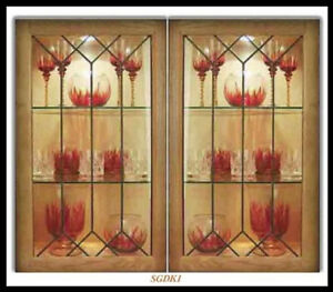 Custom Leaded Glass kitchen door inserts New & existing Cabinets