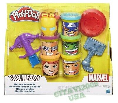 NEW! PLAY-DOH CAN HEADS MARVEL HEROS ASSEMBLE PLAY SET. PLAY DOUGH EVENGERS
