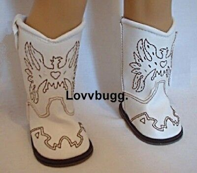 "Lovvbugg White Cowboy Boots for 18"" American Girl or Boy or Bitty Baby Doll Shoes Clothes"