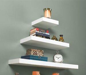 modern white high gloss floating wall shelf display. Black Bedroom Furniture Sets. Home Design Ideas