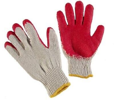 10 Pairs Red Latex Rubber Palm Coated Work Safety Gloves