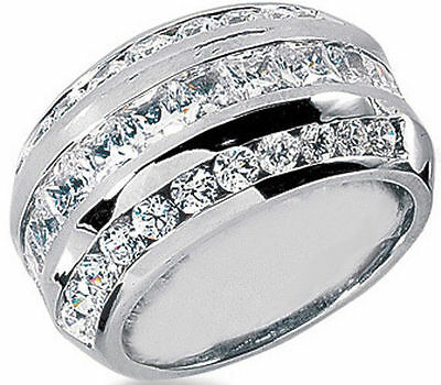 3.57 carat Princess & Round Diamond Ring Anniversary Gold Band F color VS
