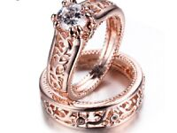 New Women Ring Set of 2 Rose Gold Filled Rings Bridal Size 0,5L