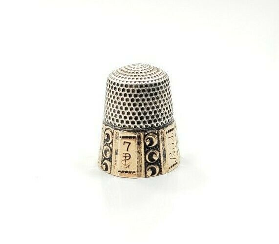 Vintage Victorian Sterling Silver 10k Yellow Gold Detailed Sewing Thimble