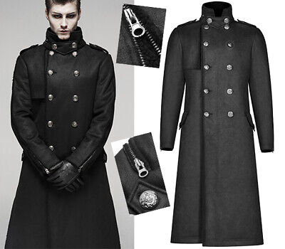 Lang Fleece Mantel Militär Uniform Gothic Punk Dandy Punk Winter PunkRave Herren Fleece Uniform