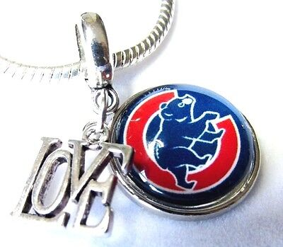 CHICAGO CUBS BASEBALL CHARM PENDANT SPORTS NFL TEAM LOGO LOVE European Gift Bag