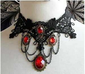 GOTHIC-VICTORIAN-BURLESQUE-LACE-CHOKER-LADIES-NECKLACE-STEAMPUNK-HALLOWEEN-GOTH