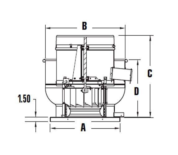 Restaurant upblast commercial hood exhaust fan 34 x 34 for Restaurant exhaust fan motor