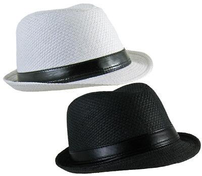 Hut für Damen und Herren FEDORA Trilby schwarz weiß Gangster Strohhut Opitik ()