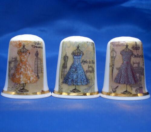 Birchcroft China Thimbles -- Set of Three --  Dressmaking