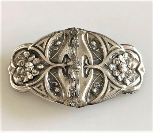 Antique Art Nouveau Sterling FRONT Silver FLORAL Motif BELT BUCKLE