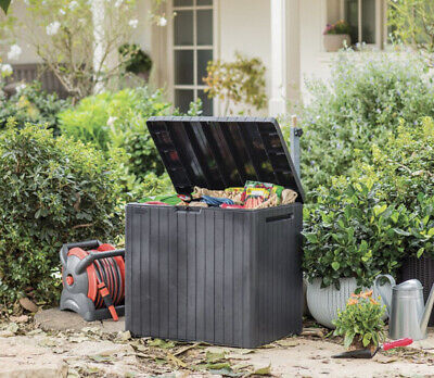 Keter City Outdoor Storage Box -Grey Small Garden Patio Storage Box Solution