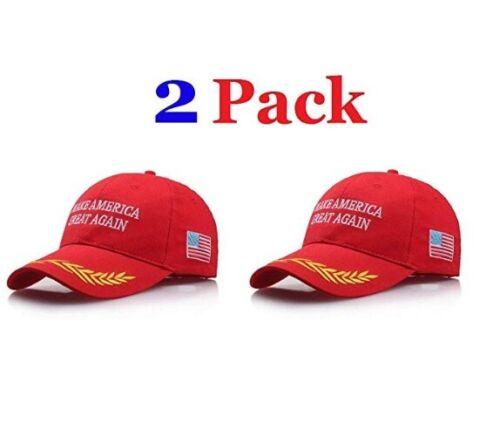 Make America Great Again Hat [2 Pack], Donald Trump USA MAGA Red Adjustable Cap