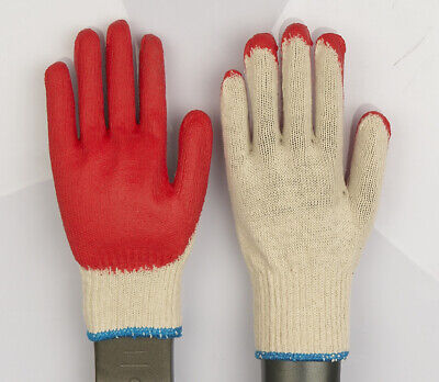 WHOLESALE 300 Pairs Red Latex Rubber Palm Coated Work Gloves ( MADE IN KOREA )