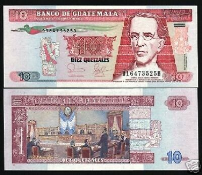 GUATEMALA 10 QUETZAL P111A 2006 BIRD ASSEMBLY UNC LATINO CURRENCY LOT 10 NOTES