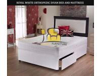 BRAND NEW LUXURY DIVAN BASE WITH ROYAL WHITE ORTHOPEDIC MATTRESS - SINGLE / SMALL DOUBLE / KING SIZE