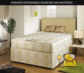 BRAND NEW SINGLE DOUBLE KINGSIZE LUXURY DIVAN BED BASE WITH 9inch THICK WINDSOR ORTHOPAEDIC MATTRESS