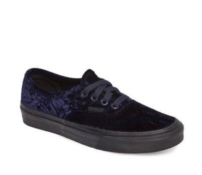 * Vans Mens 5.5 Womens 7 Authentic Velvet Navy Blue Black Sole Sneakers Shoes