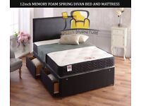 Brand New Luxury Black Divan Bed Bases with Headboard + Storage Drawer option Same/Next day delivery