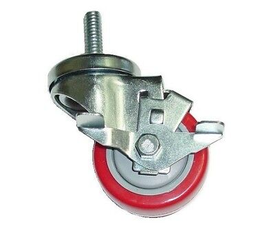 Swivel Stem Caster With 3 Wheel And 38 -coarse Tall Threaded Stem And Brake