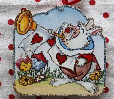 Glittered Wooden Valentine ORNAMENT ~Alice's White Rabbit~ ~Free Shipping