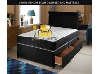 BRAND NEW SINGLE / DOUBLE / SMALL DOUBLE / KINGSIZE DIVAN BED BASE WITH 10 INCH MEMORY FOAM MATTRESS