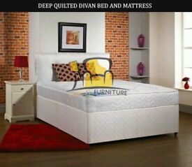 Brand New Single / Double, Small Double / Kingsize Luxury Divan Bed Base with 8inch Quilted Mattress