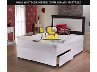 Brand New 4ft6 Double/4ft Small Double Divan Bed Base with White Orthopaedic Mattress, Headboard opt
