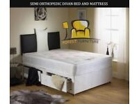 BRAND NEW DOUBLE/SMALL DOUBLE DIVAN BED BASE WITH 9 INCH THICK SEMI ORTHOPEDIC MATTRESS