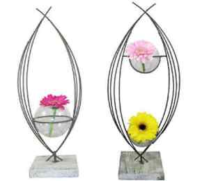 SET-OF-2-NEW-BEAUTIFUL-UNIQUE-METAL-FLOWER-STANDS-3-GLASS-FISH-BOWL-TYPE-VASES