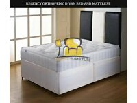 BRAND NEW DOUBLE/SMALL DOUBLE DIVAN BED BASE WITH 10 INCH THICK REGENCY ORTHOPEDIC MATTRESS