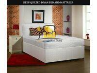 BRAND NEW SINGLE DOUBLE / SMALL DOUBLE / KINGSIZE DIVAN BED BASE WITH 8inch DEEP QUILTED MATTRESS
