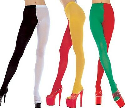 Black Purple Red White Green 2 Tone Jester Tights Sexy Designer Lingerie P748 ()