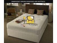 Brand New Single / Double / Kingsize Luxury Divan Bed Base + 1000 Pocket Sprung Orthopedic Mattress