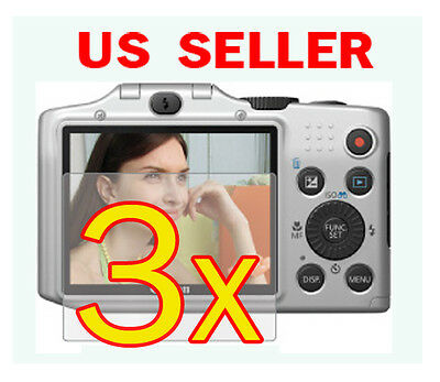 3x Canon PowerShot SX160 IS Clear LCD Screen Protector Guard Shield Film