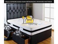 Brand New Double / Kingsize Divan Bed Base with 10 inch Rock Hard Firm Orthopedic Hard Foam Mattress