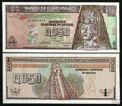 GUATEMALA 1/2 QUETZAL P79 1992 1/5 BUNDLE BIRD TEMPLE UNC CURRENCY NOTE 20 PCS