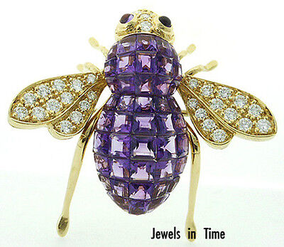 Bumblebee Amethyst Diamond 18K Yellow Gold Brooch/Pin