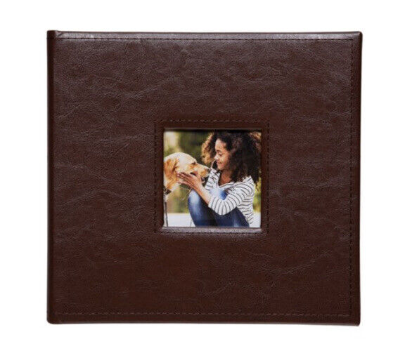"""Pinnacle Faux Leather Brown Photo Album with Window Holds 120 - 4""""x6"""" Photos"""