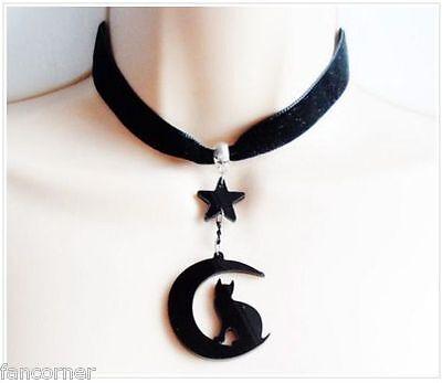 Pendant collar black cat acrylique high quality moon gazing cat choker