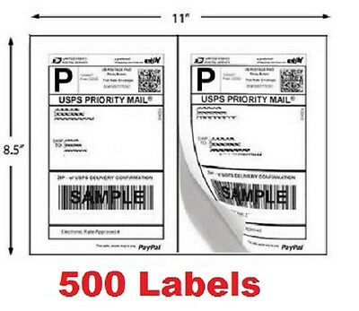 500 Shipping Labels Half Sheet Self Adhesive Ebay Postage Easy Peel Stick