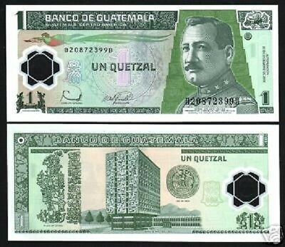 GUATEMALA 1 QUETZAL NEW 2007 BIRD POLYMER BB PREFIX UNC LATINO MONEY BANK NOTE