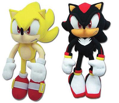 Set of 2 NEW GE Stuffed Plush Toys Sonic the Hedgehog - Super Sonic & Shadow