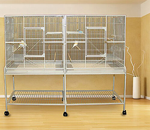 LARGE Double Flight Bird Breeding Cage For Cockatiel Canary Aviary Budgie Finch