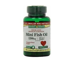 90 mini fish oil 1290mg omega 3 natures bounty dietary for Vitamin shoppe omega 3 fish oil