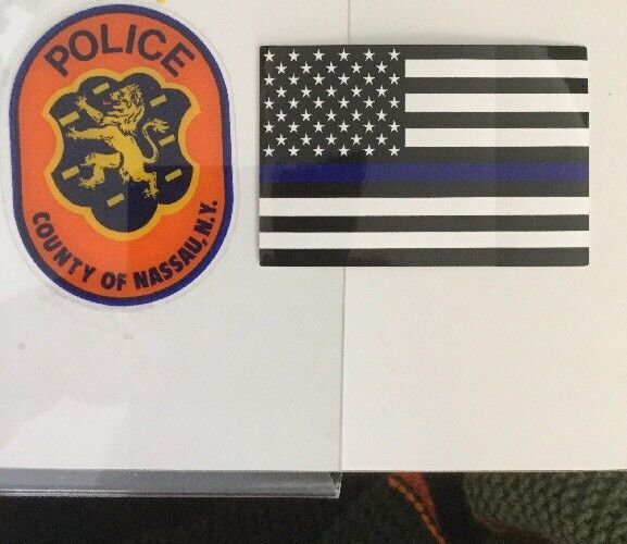 Nassau County Police INSIDE FACES/OUT OFFICIAL Decal +Flag Blue Line Sticker NYS